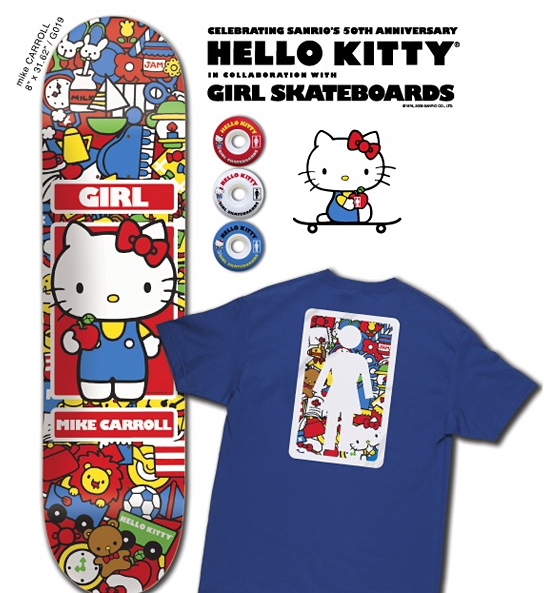 When Mike Carroll creates Hello Kitty skateboard decks for Girl,